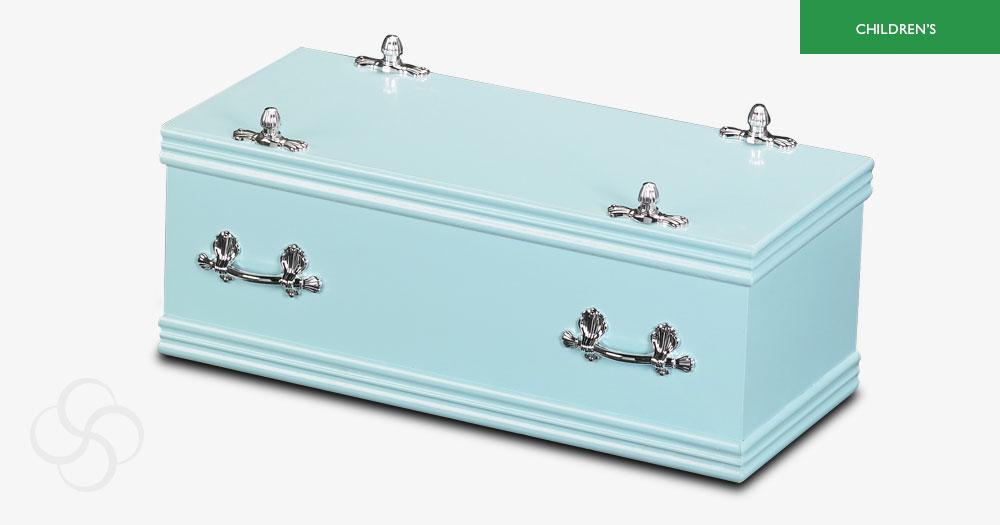 Light blue children's sweet dreams casket