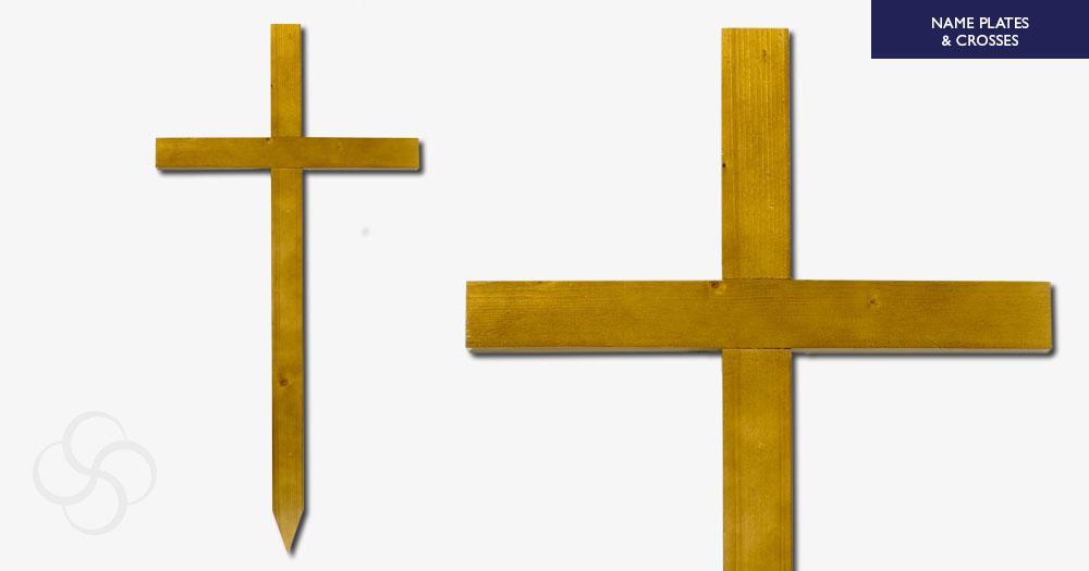 Light Oak Grave Marker Cross 4 foot