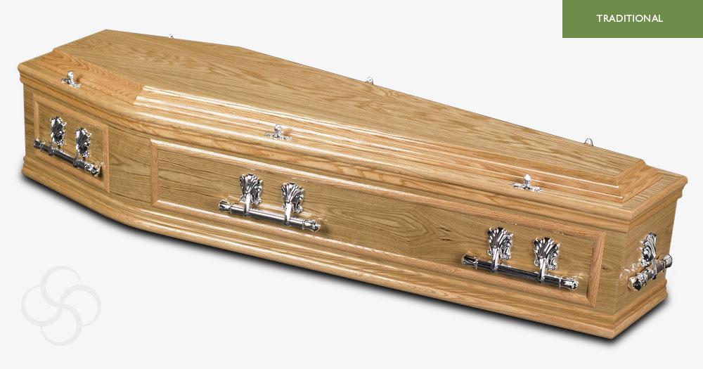 Light Oak Warwick Traditional Coffin