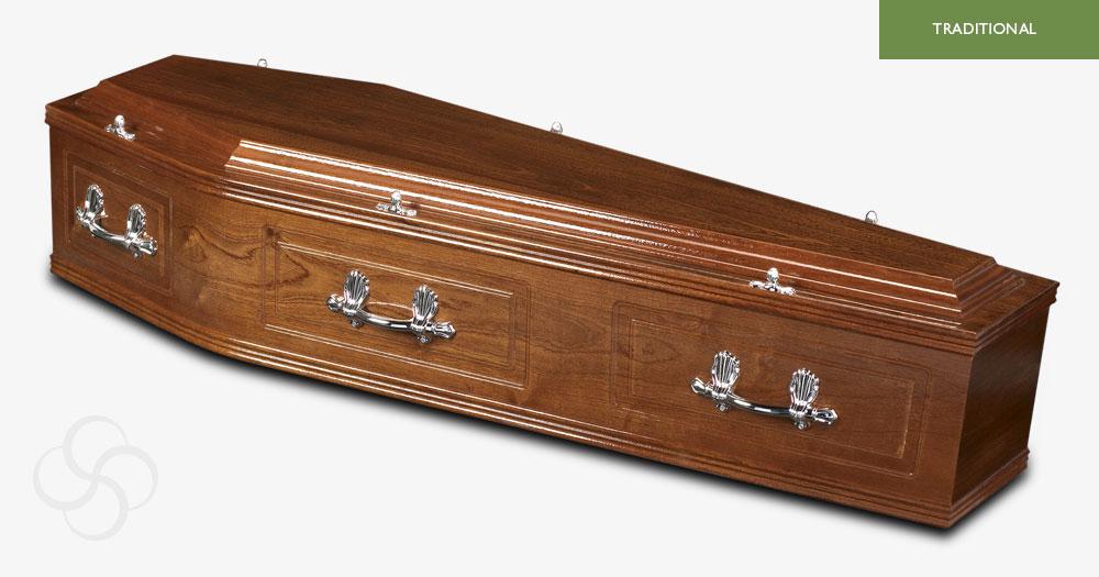 Medium Mahogany Canterbury Traditional Coffin