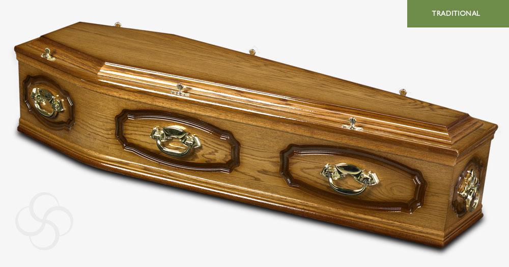 Medium Dark Oak Windsor Traditional Coffin