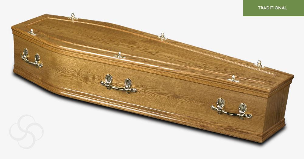Medium Oak Hardwick Traditional Coffin
