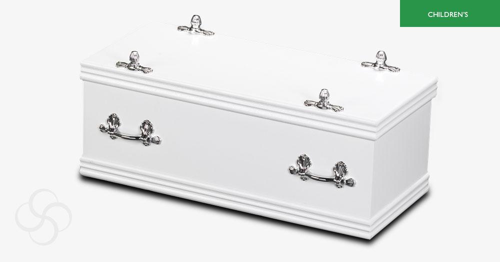 White children's sweet dreams casket