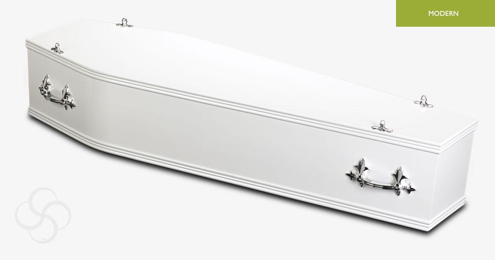 White Pastel Modern Coffin