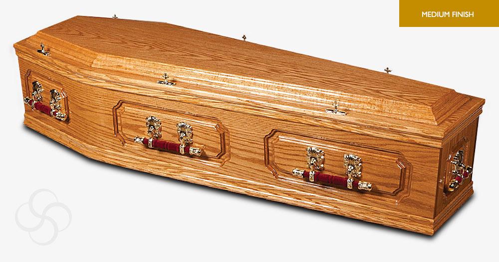 Honey Oak Churchill Signature Coffin
