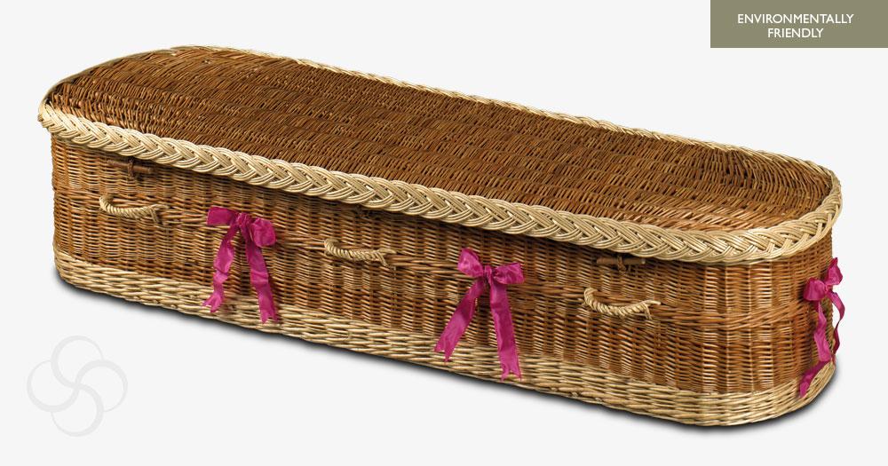 Environmentally friendly Buff/white Somerton wicker coffin