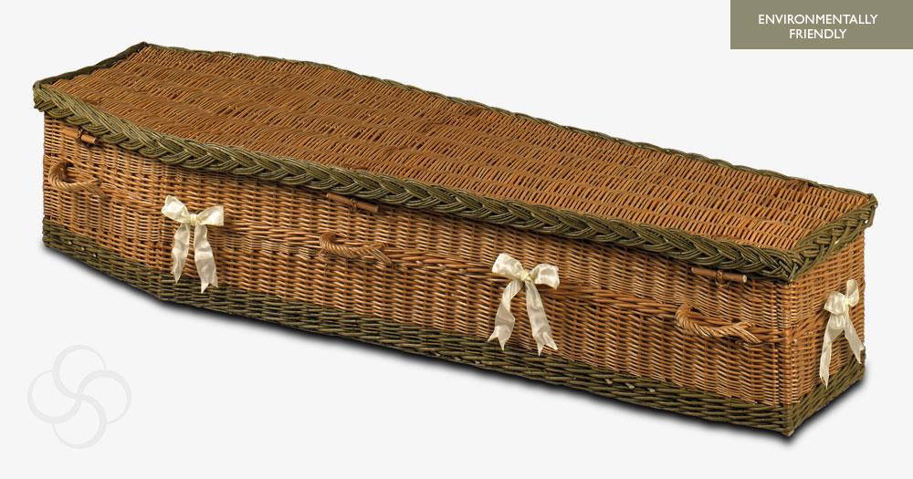 Environmentally friendly Buff/Green Taunton wicker coffin