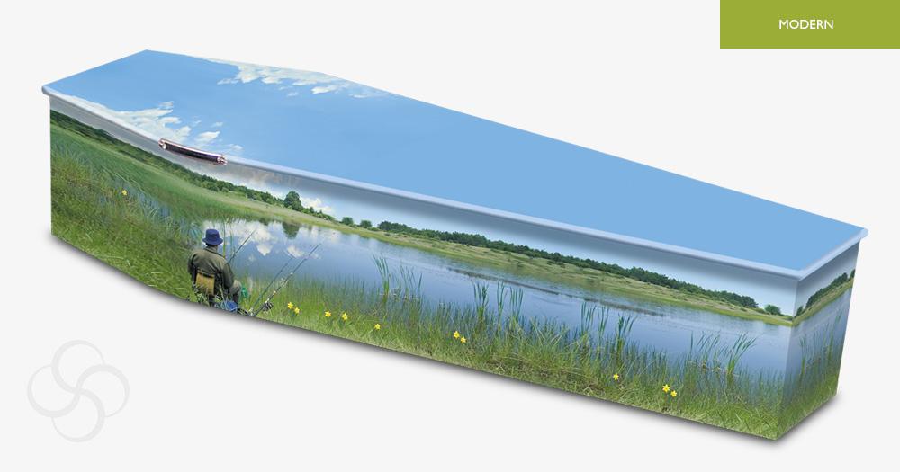 fisherman picture woodern modern coffin